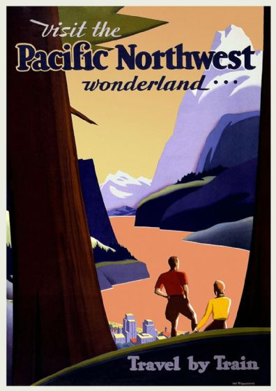 Visit the Pacific Northwest Wonderland... Vintage Travel/Tourism Print/Poster. Sizes: A4/A3/A2/A1 (002720)